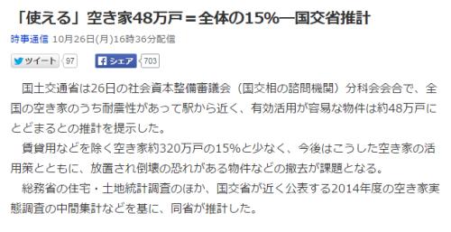 「使える」空き家48万戸=全体の15%―国交省推計 (時事通信)   Yahoo ニュース
